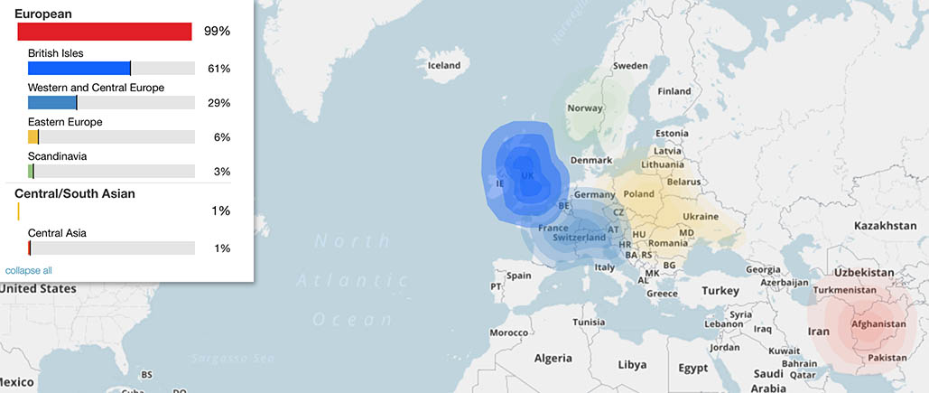 image of a map of europe and the near east highlighting regions my dna occurs in and in what percentages