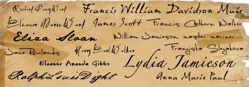 banner of signatures of selected ancestors on old, torn paper