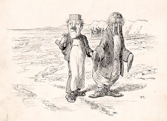 image of The Walrus and the Carpenter walking on a beach